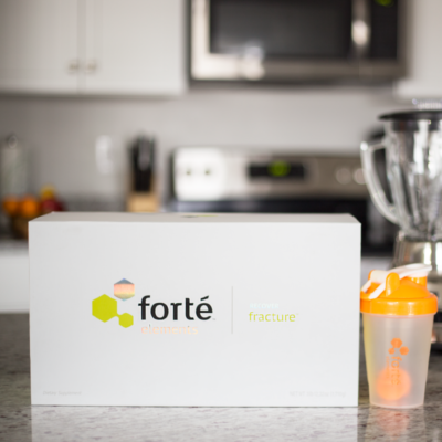 Forte Bone Fracture supplement package with water bottle