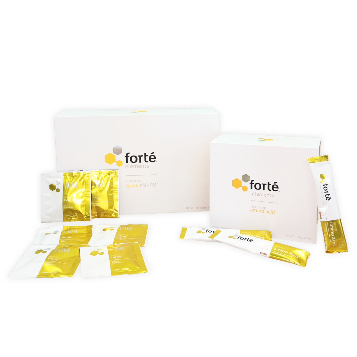 Bone and amino acid supplement bundle yellow packaging